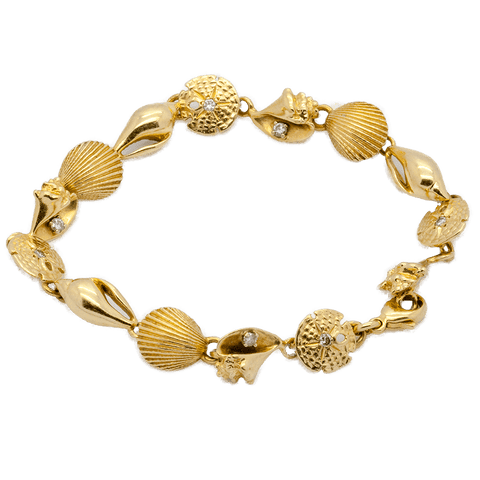 "14K Gold Seashell Bracelet with 8 Petite Diamond Accents - 7 1/4"" Long"