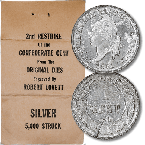 1861 (1961) Confederate Cent, Bashlow Restrike, Silver, Breen-8011 - Gem Uncirculated
