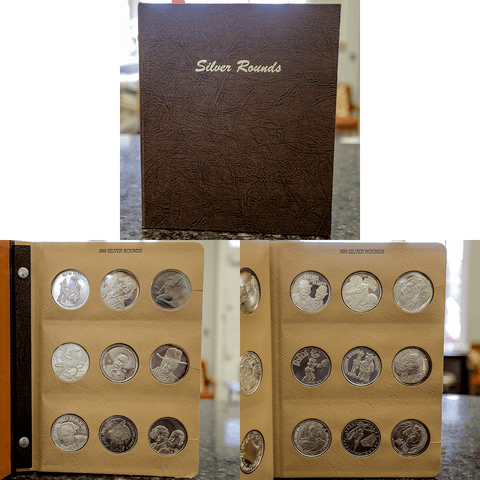 45 All Different 1 oz .999 Silver Rounds in Deluxe Dansco Silver Round Book