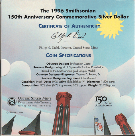 1996 Smithsonian Young Collector's 150th Anniversary Commemorative Proof Silver Dollar Set