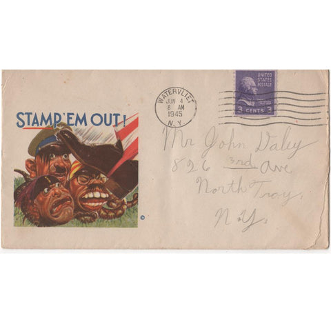 "Jun. 4, 1945 ""Stamp 'Em Out!"" WW2 Patriotic Cover"