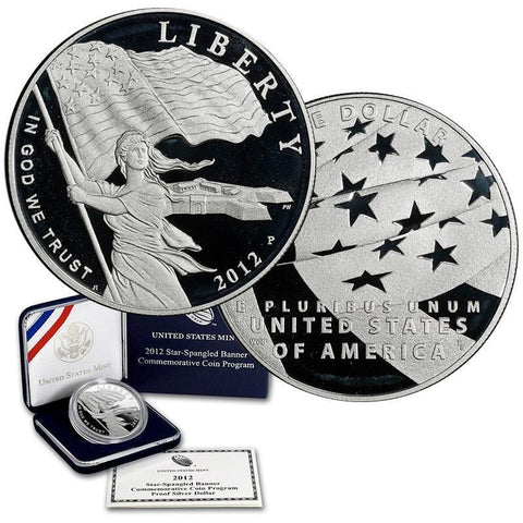 2012-P Silver Proof Star Spangled Banner Commemorative Dollar in OGP w/ COA