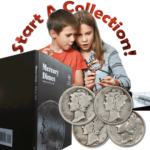 Start a Collection! 10 Different Mercury Dimes Including Official Whitman Coin Folder