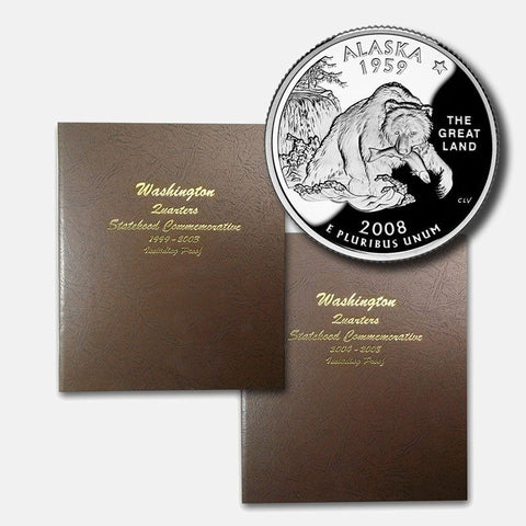 Complete 1999-2008 200-Coin State Quarter Sets in Two Bookshelf Albums