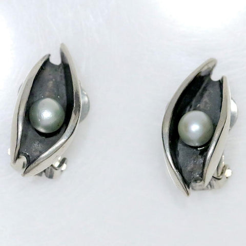 Henry Steig Sterling Silver & Pearl Clip On Earrings