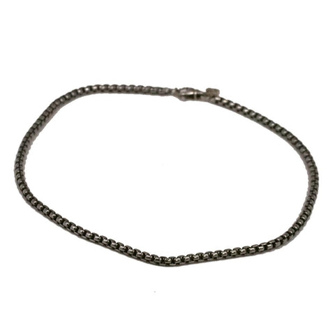 David Yurman Sterling Silver Box Chain with 14k Gold DY Tag