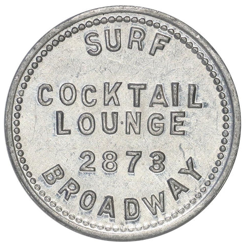 Early 1950s Chicago, IL Surf Cocktail Lounge 5¢ Trade Token - Premium Quality BU