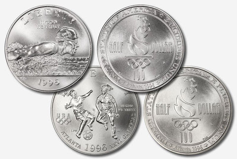 1996-S Swimming & Soccer Commemorative Half Special - Gem Brilliant Uncirculated in Original Mint Capsules