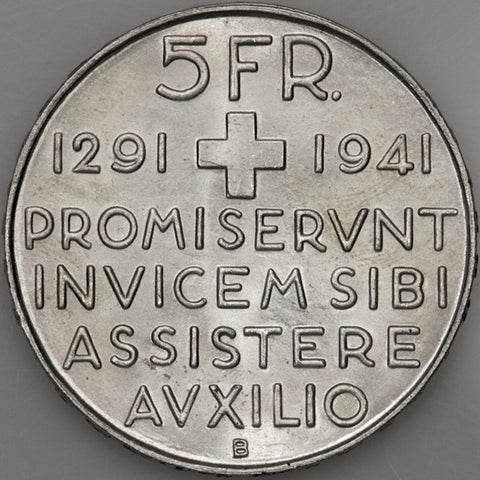 1941-B 650th Swiss Anniversary of Confederation Silver Commemorative 5 Francs ~ Gem BU