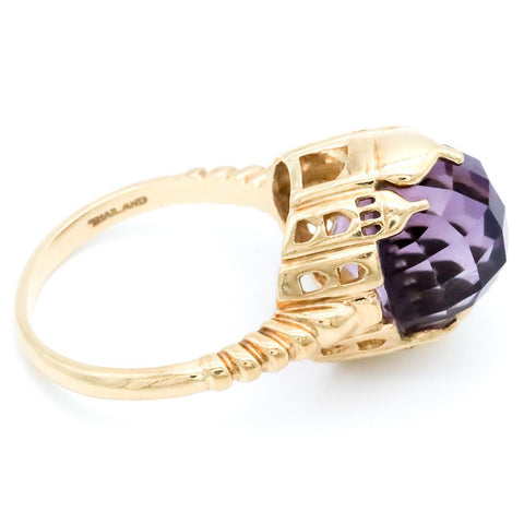 10K Gold & Amethyst Taj Mahal Cocktail Ring - Size 9 1/4