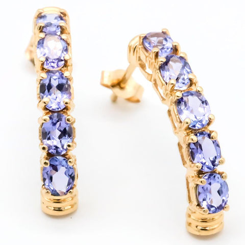 Pair of Lovely 14K Gold Tanzanite Earrings