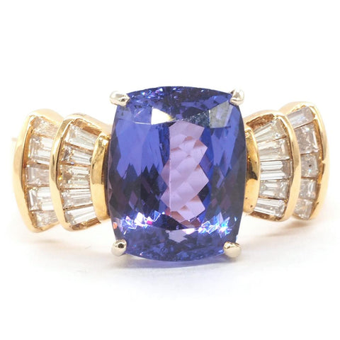 14K Gold 6.40 Ct AAA Tanzanite & Diamond Ring - Size 8.5