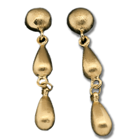 14K Yellow Gold Delicate Teardrop Dangle Earrings