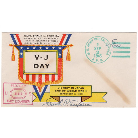 Sept. 2, 1945 - Teixeira V-J Day Patriotic Cover (Signed) - Free Postage