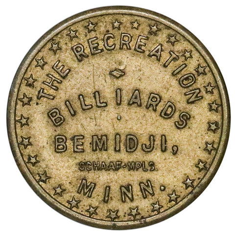 Bemidji, MN The Recreation Billiards 2 1/2¢ Trade Token - Extremely Fine