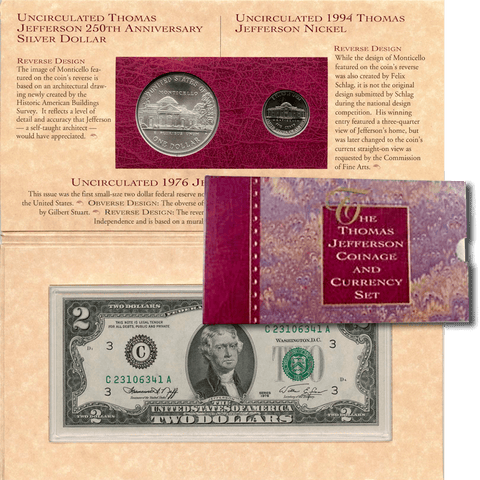 1993 Thomas Jefferson Coin and Currency Set (Includes 1994 Matte Nickel & 1976 $2 Note)