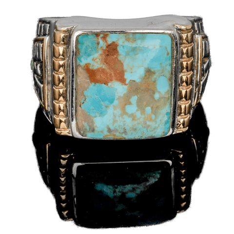Sterling and Turquoise Cabochon Thunderbird Ring - Size 11