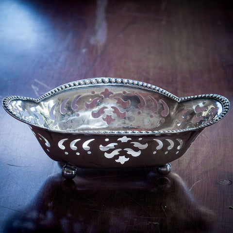 Tiffany & Co Cut Work Nut/Candy Dish Beaded Rim Sterling Silver (1902-1907)