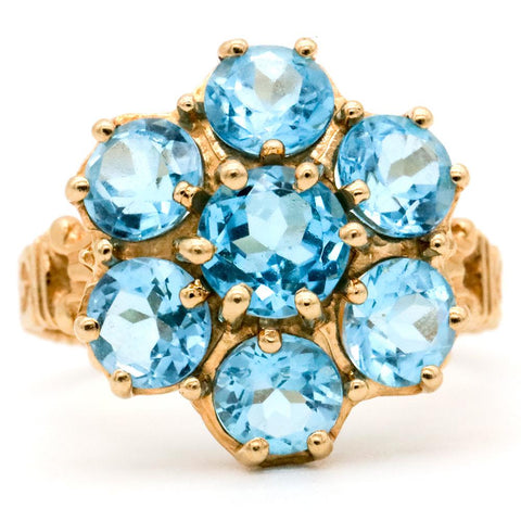 Stunning 10K Gold Sky Blue Topaz Flower Ring 3.5 CTW - Size 7 1/4
