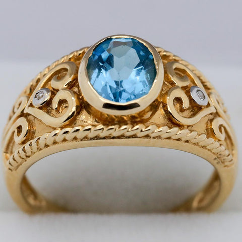 10K Gold Blue Topaz w/ Petite Diamond Accents Ring - Size 6 3/4