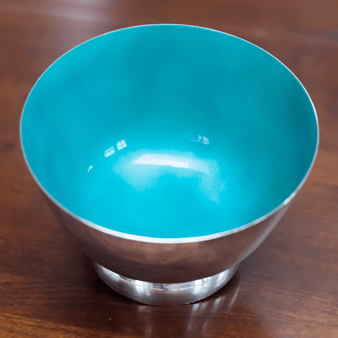 "Towel 46 Sterling Silver Robin Egg Blue Enamel 5"" Footed Bowl"