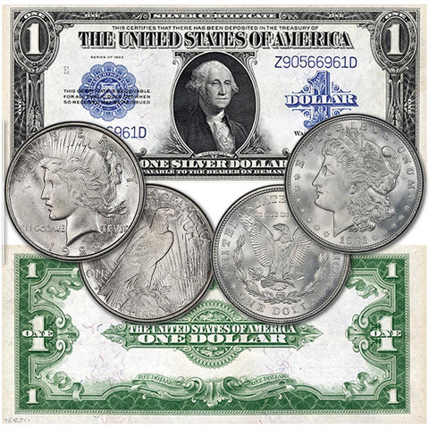 "Three Different ""Silver Dollars"" - 1921 Morgan, 1922 Peace, 1923 $1 Silver Certificate"