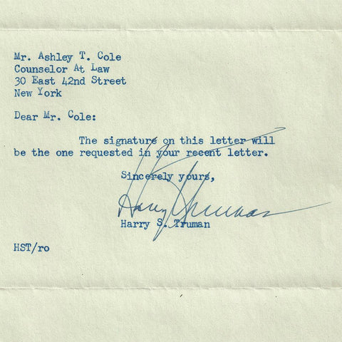 1942 Harry S. Truman Autographed Letter to Noted Collector Ashley T. Cole