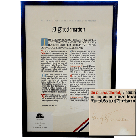 World War II Victory Proclamation Broadside Signed By President Harry S. Truman