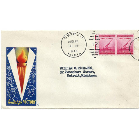 Aug 25, 1942 United For Victory Patriotic Cover