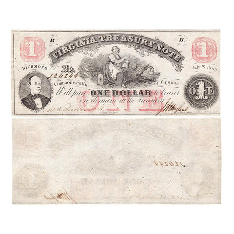 1862 $1 Virginia Treasury Note Cr.17 ~ Crisp Uncirculated