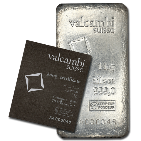 Valcambi 1 Kilo (32.15) Struck Silver Bar w/ Card