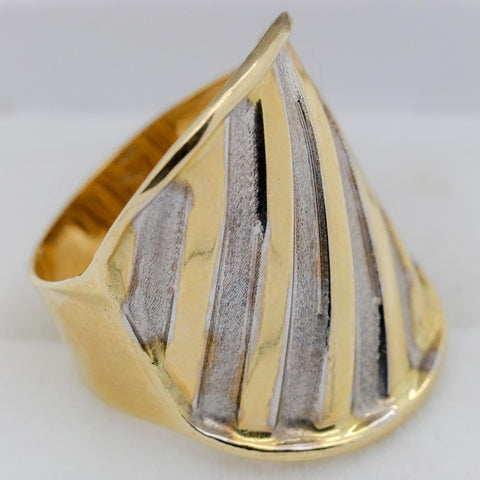 14K Gold Vior Yellow and Gold Striped Wide Body Ring - Size 7