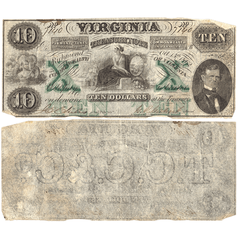 1862 $10 Virginia Treasury Note Cr.11 (Watermarked TCCC & Co) ~ Fine+