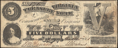 1861 $5 Virginia Treasury Note Cr.5 - Very Fine - First Issue