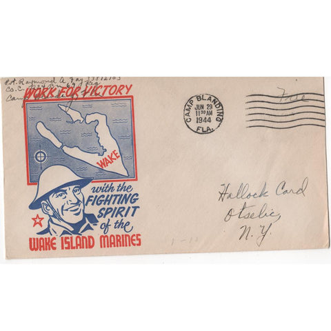 "Jun. 29, 1944 ""Wake Island Marines"" WW2 Patriotic Cover"