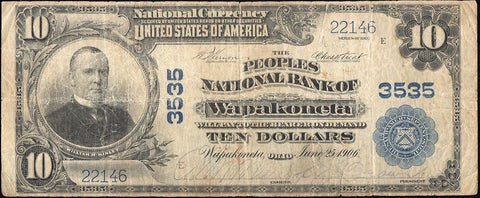 1902 Plain Back $10 Peoples National Bank of Wapakoneta, OH Charter 3535 ~ Net VG/Fine