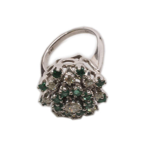Exquisite 14K White Gold Diamond & Emerald Cocktail Ring