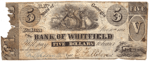 1861 $5 Bank of Whitfield Dalton Georgia - G30 - CSA Reverse - AG/G