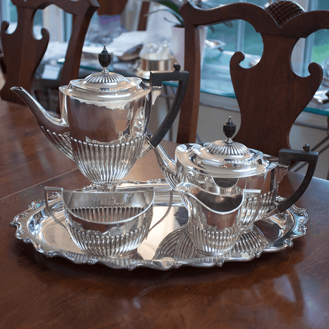 1912 William Hutton & Sons Sterling Silver 4-Piece Tea & Coffee Set