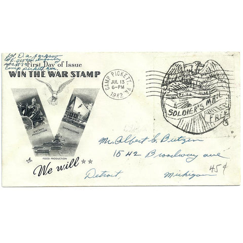 Jul 13, 1942 - Win The War Stamp Patriotic Cover Camp Picket, VA CDS