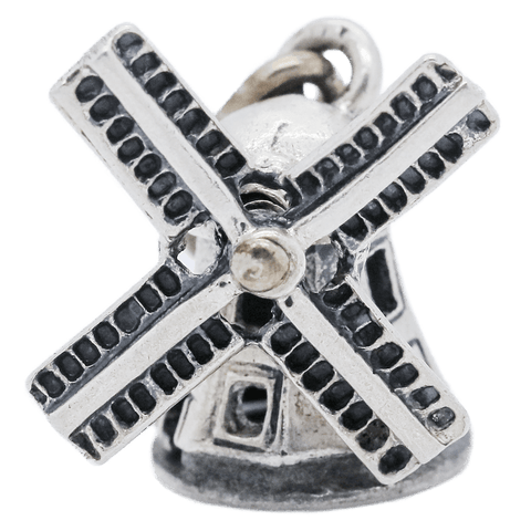 Vintage Sterling Silver Articulated Windmill Charm