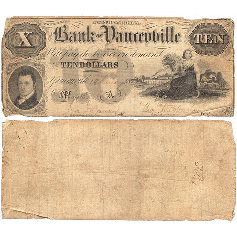 1856 $10 Bank of Yanceyville, North Carolina - Very Good
