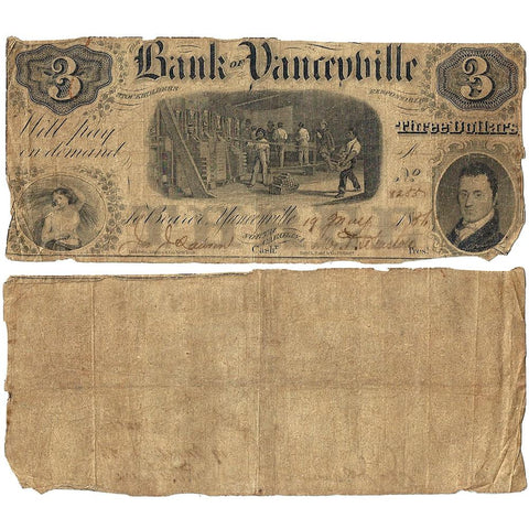 1856 $3 Bank of Yanceyville, North Carolina - Very Good