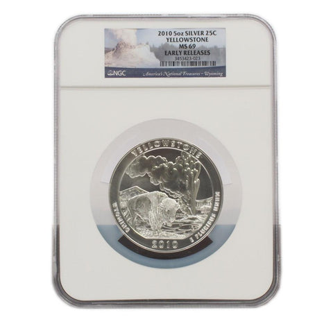 2010 Yellowstone 5oz Silver National Parks Quarter - NGC MS69 ER