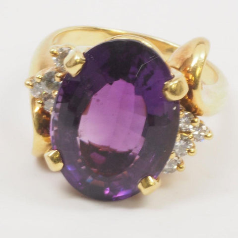Stunning 18K Gold 9.8ct Amethyst Diamond Ring