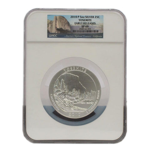 2010-P 5oz Yosemite Silver National Park Quarter - NGC SP69