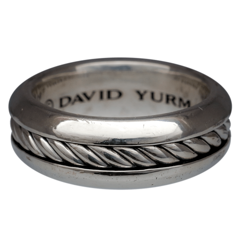 Gentleman's Sterling Silver David Yurman Classic Cable Band Ring, Size 9