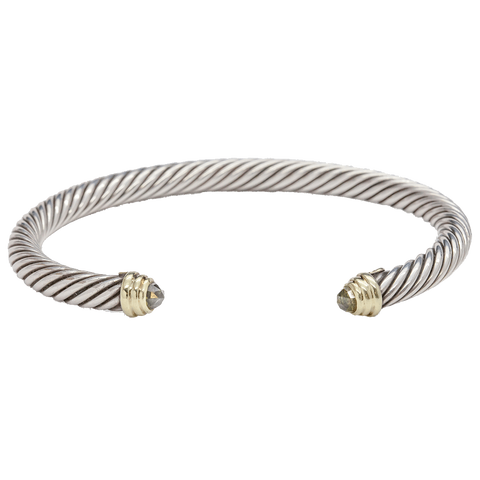 David Yurman 5mm Peridot 14K & Sterling Silver Cable Cuff Bracelet