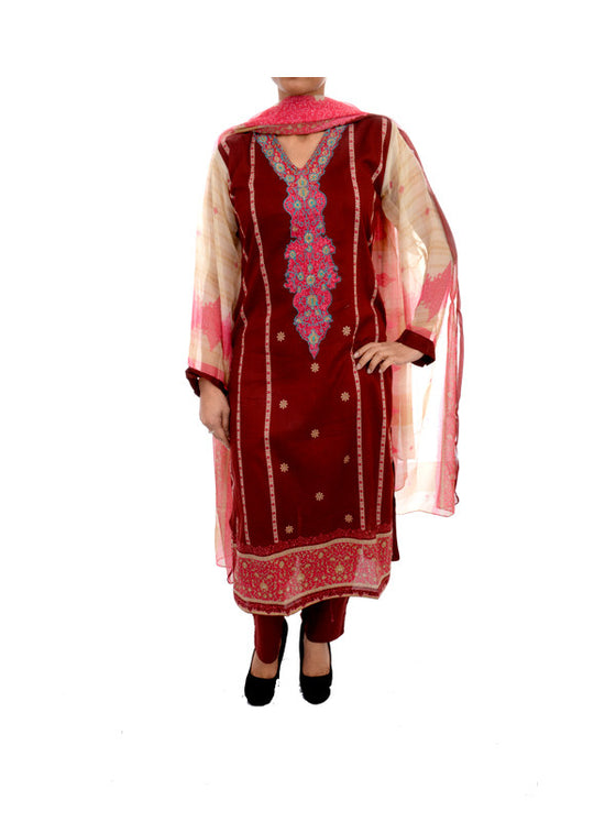 Currant Red Ready to Wear Lawn Outfit