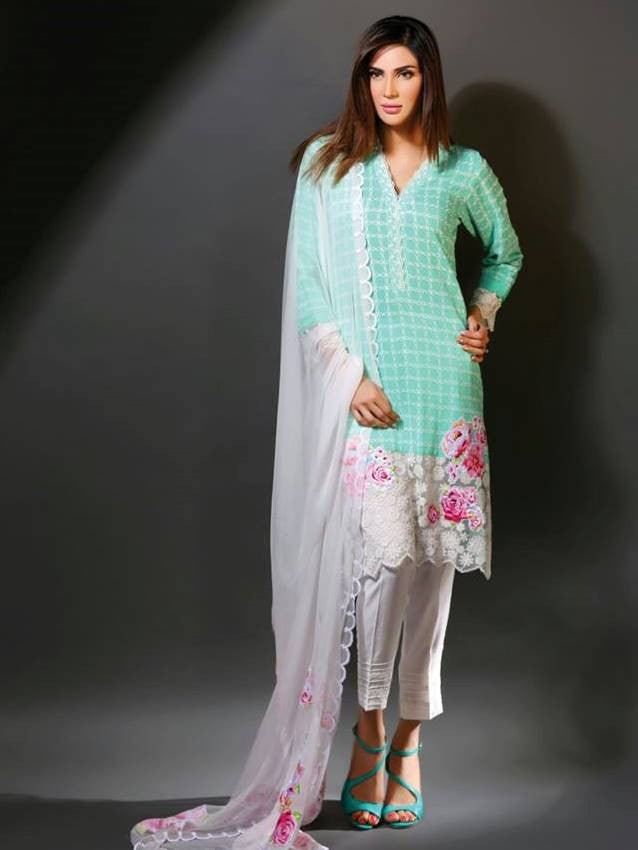 Baby Blue and White Checkered Top with Cigarette Pants Chiffon Dupatta
